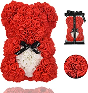 Gifts for Women - Rose Teddy Bear - Rose Flowers Bear, Unique Gifts, Gifts for Girls,Gifts for mom,Birthday Gifts,Flower delivery - Clear Gift Box Included (red, 10in)