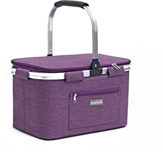 HulaFish Foldable Insulated Picnic Basket with lid 32L Extra Large Insulated Bag for Picnic, Food Delivery, Take Outs, Gro...
