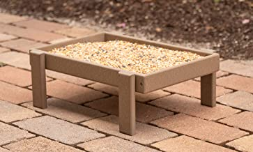 product image for DutchCrafters Recycled Plastic Platform Ground Bird Feeder Tray Made in America (Weathered Wood)