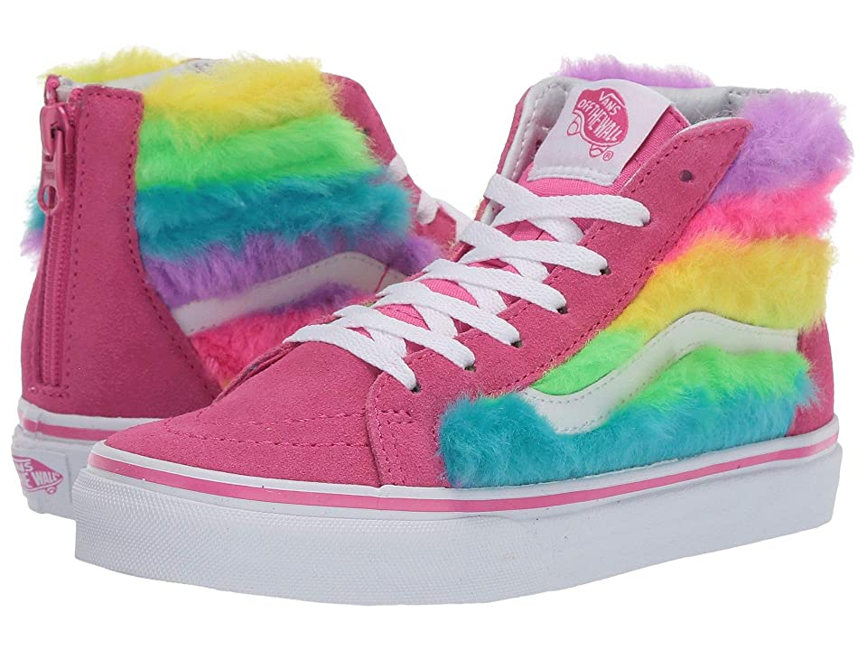 Vans Kids Sk8-Hi Zip (Little Kid/Big Kid) ((Rainbow Fur) Carmine Rose/True White) Girls Shoes