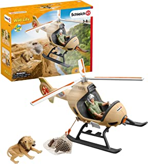 Schleich Wild Life 8-piece Animal Rescue Helicopter Toy with Safari Animal Figures for Kids Ages 3-8 Multicolore, 8 x 24 x...