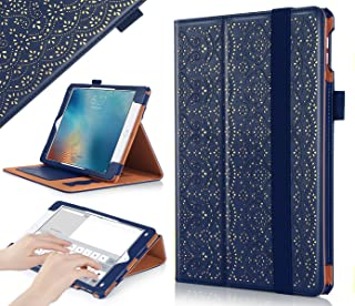 WWW iPad Pro 9.7 Case, [Luxury Laser Flower] Premium PU Leather Case Protective Cover with Auto Wake/Sleep Feature for Apple iPad Pro 9.7-inch Navy Blue