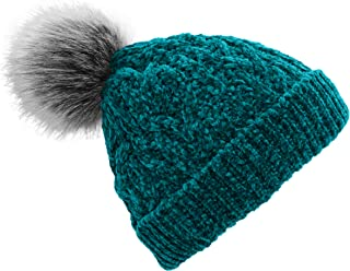 Women's Winter Beanie Hat with Faux Fur Pom Pom - Cable Knitted Chenille and Fleece Lined Slouchy Beanie