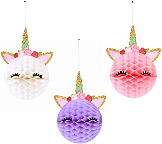 6pcs Unicorn Honeycomb Balls Decorations Party Supplies – Unicorn Party Decor For Birthday Party,Wedding,Baby Shower– 3 Color Unicorn Party Decorations
