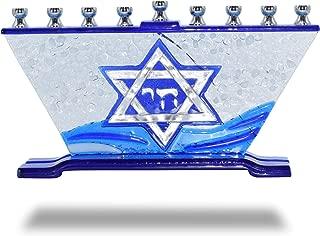 Ner Mitzvah Glass Candle Menorah - Fits All Standard Chanukah Candles - Handcrafted Star of David Glass Painted Hanukkah Menorah