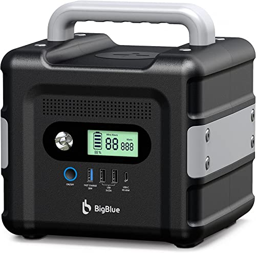 504Wh Camping Power Station BigBlue 140000mAh Portable Solar Generator(45W PD Type-C/Car Port/2DC/2AC/3USB) Safe & Silent CPAP Backup Battery Supply with LED Flashlight for RV Hunting Emergency
