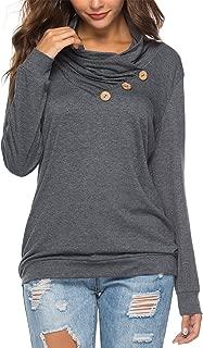 Women's Casual T-Shirt Long Sleeve Button Cowl Neck Tunic...