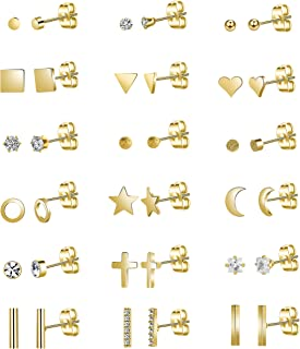 18Pairs 20G Stainless Steel Tiny Stud Earrings for Women Girls CZ Earrings Cartilage Helix Ear Piercing Set
