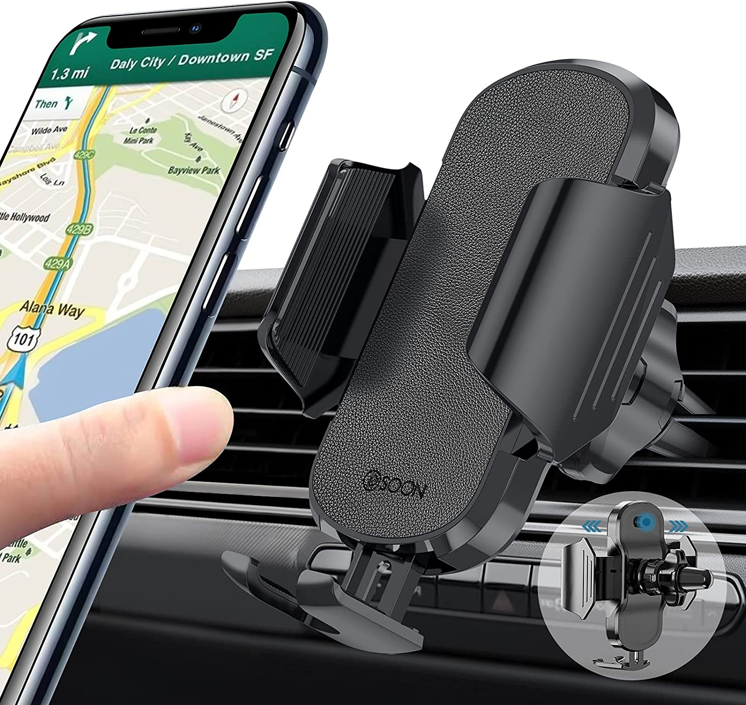 BSOON Car Phone Holder Mount, Air Vent Phone Stand for Car, Universal Smartphone Automobile Cradles, Compatible with iPhone 12/12 Pro/11 Pro Max/8 Plus/8/X Samsung Galaxy S20/S20+/S10/S9/Note 20/10