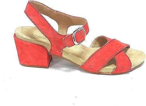 BENVADO - Sandalias de Vestir de Ante para mujer rojo Fuego