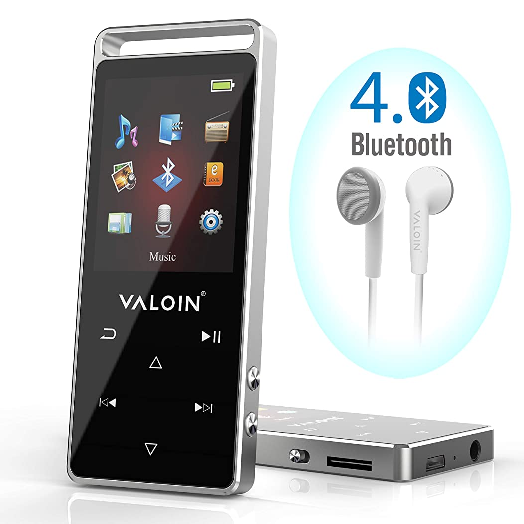 Valoin MP3 Player with Bluetooth,Built-in 8GB Memory Audio Player for Wired or Wireless Earphones, Headphones, Speakers