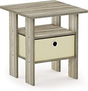 FURINNO Andrey End Table Nightstand with Bin Drawer, 1-Pack, Sonoma Oak/Ivory