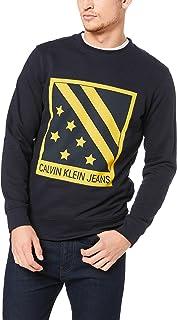 Calvin Klein Jeans Men's Big Chest Badge Crew Neck Sweatshirt, Blue, S
