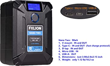 Fxlion Nano Two 98WH Tiny V-Mount/V-Lock Battery with Type-C, D-Tap, USB A, Micro USB for Cameras, Camcorders,Large LED Lights, Monitors, MacBook and Smartphone