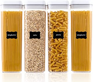 Airtight Food Storage Containers, Vtopmart 4 Pieces BPA Free Plastic Spaghetti Containers with Easy Lock Lids, for Kitchen...