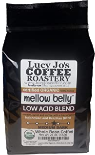 Lucy Jo's Coffee, Organic Mellow Belly Low Acid Blend, Whole Bean, 11 oz (26 OZ)