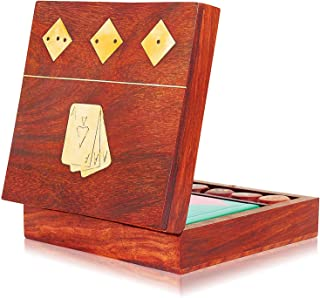 Unique Birthday Gift Ideas Handcrafted Classic Wooden Playing Card Holder Deck Box Storage Case Organizer With Dice & Single Pack of Premium Quality 'Ace' Playing Cards Anniversary Gifts For Him Her