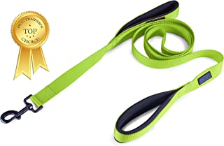 Wagtime Club Soft &Thick Dual Handle Dog Leash, Premium Nylon Double Padded Handles 6FT Length for Medium, Large or XLarge Dog Classic Comfort (Neon Green)