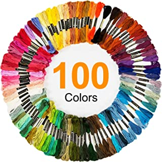 QICI Embroidery Floss 100 Skeins Embroidery Premium Multi-Color Cross Stitch Threads Friendship Bracelet String 200 Pack