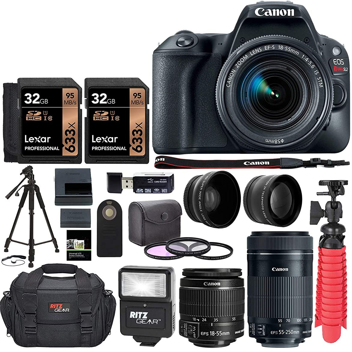Canon EOS Rebel SL2 DSLR Camera with EF-S 18-55mm STM & 55-250 is STM Lenses, Two Lexar 32GB Memory Cards, Flexi-Tripod and Accessory Bundle