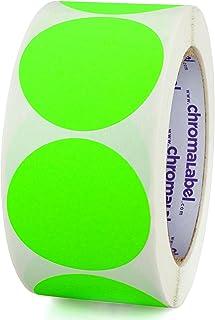 ChromaLabel 2 Inch Round Permanent Color-Code Dot Stickers, 500 per Roll, Fluorescent Green
