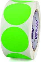 ChromaLabel 2 inch Color-Code Dot Labels   500/Roll (Fluorescent Green)