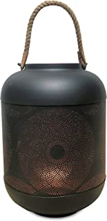 WHW Whole House Worlds Black and Red Rope Top Temple Lantern, Punched Flowering Mandela Roundel Design, Artisan Crafted, Lacquered Iron, Rope Handles, Over 1 Ft Tall, from The Global Chic Collection