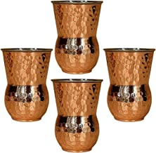 Copper Hammered Mugs Matka Style Sets of 4