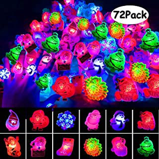 U-Goforst 2019 Christmas Party Favours - 72 pcs Christmas LED Ring Light Up Party Favor Toy Flashing Ring Christmas Stocking Stuffers Ornaments Decorations with Gift Packge