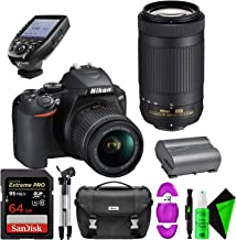Nikon D3500 DSLR Camera with 18-55mm and 70-300mm Lenses + 64GB PRO Memory Card + TTL Wireless Transmitter + Tripod