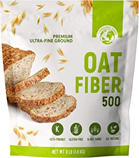 LifeSource Foods Oat Fiber 500 (3 LB) Keto, Zero-Carb, Gluten-Free, All-Natural Fiber for Low-Carb Baking and Bread, OU Ko...