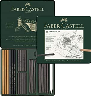 Faber-Castell Quality Pitt Mixed Media Set, Charcoal – Tin of 24, (18-112978)