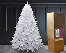 SHATCHI Big 8ft Snow White Imperial Pine Christmas Tree Deluxe Bushy Quality Xmas Decorations Home Décor Easy Set up Hinge...