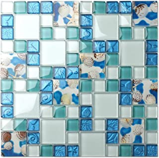 TST Mosaic Tiles Glass Conch Tiles Beach Style Sea Blue Glass Tile Glass Mosaics Wall Art Kitchen Backsplash Bathroom Design TSTGT370 (1 Sample 12x12 Inches)