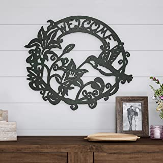 Lavish Home Metal Cutout Welcome Decorative Wall Sign Wreath-Word Art Accent-Perfect for..