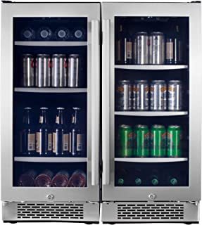 Avallon ABR151SGDUAL Stainless Steel 30 Inch Wide 172 Can Energy Efficient Beverage Center with LED Lighting, Double Pane Glass, Touch Control Panel and Lockable Doors