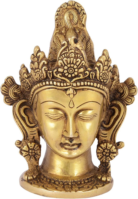 HEADWAY ENTERPRISES Brass Goddess Tara Head Idol (8 cm x 10 cm x 15 cm, gold)
