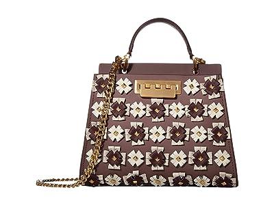 ZAC Zac Posen Earthette Double Compartment Mini w/ Floral Broaches Multi (French Roast) Handbags