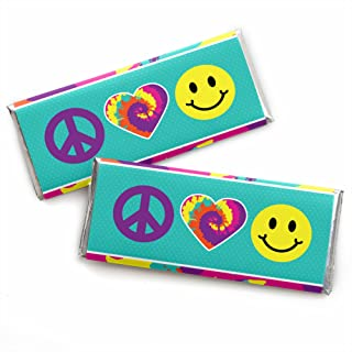 60's Hippie - Candy Bar Wrapper 1960s Groovy Party Favors - Set of 24