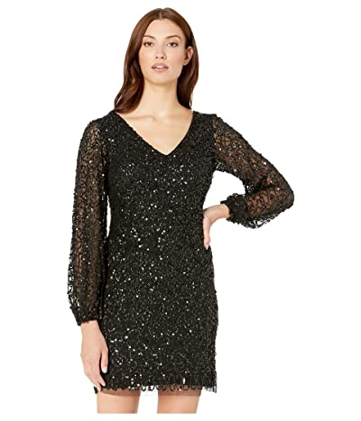 Adrianna Papell Beaded Mini Cocktail Dress with Full Sleeves (Black) Women