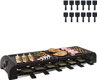 Grand appareil à raclette avec plaque grill 12 personnes 2 plaques de cuisson (12 caquelons, 1800 W, revêtement antiadhési...
