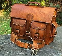 16' Besace en cuir de sacoche de messager d'ordinateur portable de toile, sac en cuir rustique en cuir fait main vintage