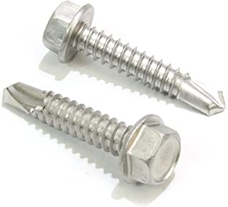 #14 X 1-1/2'' Stainless Hex Washer Head Self Drilling Screws, (50 pc) 410 Stainless Steel Self Tapping Choose Size and Qty