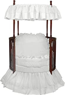 Baby Doll Bedding Regal Round Crib Bedding Set, White