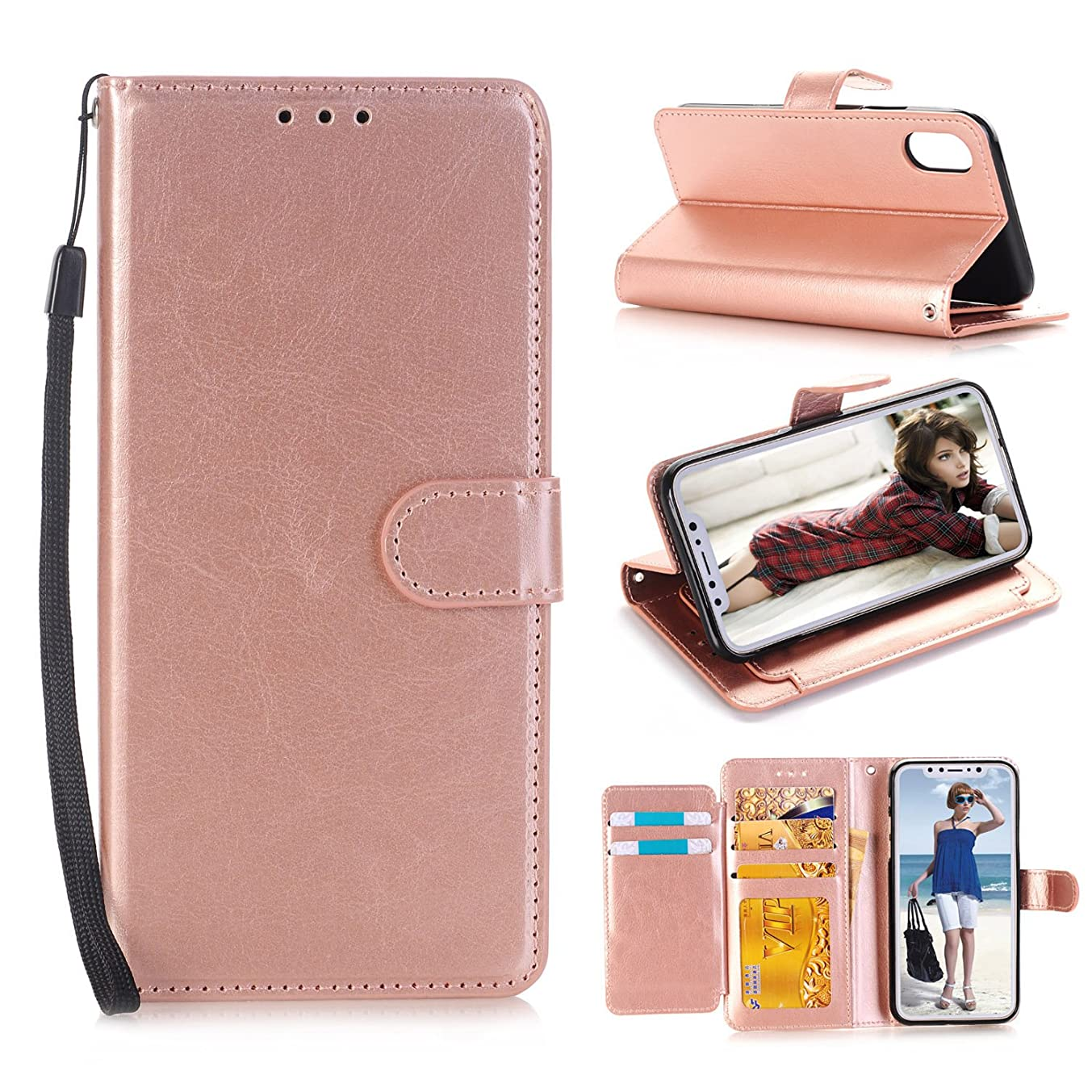 iPhone X Case, Asstar [Stand Feature] Luxury Magnetic PU Leather Wallet Flip with Credit Card Slots Shockproof Scratch-Resistant Protective Case Cover for Apple iPhone X/Xs /10 5.8 inch (Rose Gold)