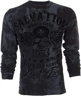 Affliction Archaic Mens Long Sleeve T-Shirt Black Tide Skull Biker