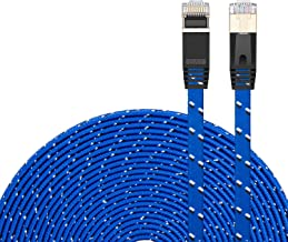 CAT 7 Ethernet Cable 30Ft,CAT7 Ethernet Ultra Flat Patch Cable for Modem Router LAN Network - Built with Gold Plated & Shielded RJ45 Connectors and Nylon Braided Jacket(30Ft/10M)