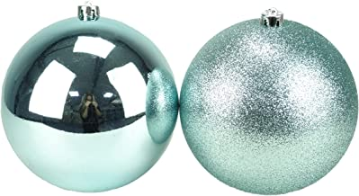 Christmas Concepts Pack of 2-200mm Ice Blue Baubles - Shiny & Glitter Design - Giant Christmas Baubles