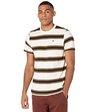 Volcom Da Fino Stripe Crew Short Sleeve Tee (Primer White) Men