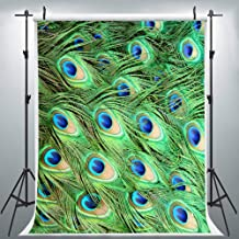 Peacock Feather Pattern Stylish Photography Backdrop for Ladies Makeup Party, 6x9FT, Green Room Mural Wall Decor Background, Photo Booth Studio Props LHLU480